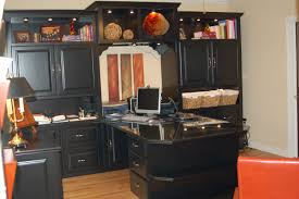 Fabulous Home Office Furnishings Designs With Custom Handmade Black Painted  Cabinet Sets And Double Desk Drawers For Computer Office Table As Decorate  In ...