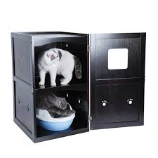 Amazon.com : Petsfit 21x25x35 Inches Espresso Double-Decker Pet House Litter  Box Enclosure Night Stand Painted With Non-Toxic With Latch Holding The  Door ...