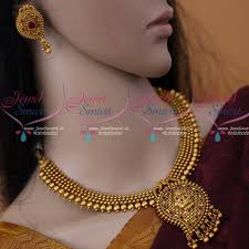 nl12315 mango design temple pendant beads necklace matte gold antique jewellery collections