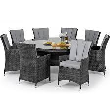 maze rattan garden furniture la grey 8 seater round dining table set
