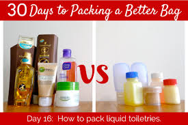day 16 how to pack liquid toiletries