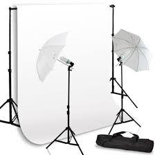 photo umbrella lighting kit w white backdrop kit