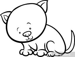Fotobehang Vinyl Schattig Kitten Cartoon Kleurplaat