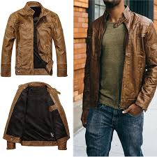 details about casual men pu leather jacket biker slim fit motorcycle jackets blazer coats cool