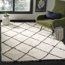 safavieh flokati hand tufted ivory brown wool area rug 4 x 6