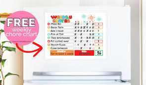 Chuck E Cheese Printable Chart Free Weekly Chore Chart For Kids