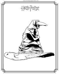 Small Picture Sorting hat Harry Potter color page cartoon characters coloring