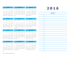 calendar templates wordtemplates net 2016 year calendar side notes 2 landscape