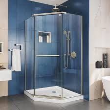 DreamLine Prism 34.125-in to 34.125-in Frameless Brushed Nickel Pivot Shower  Door