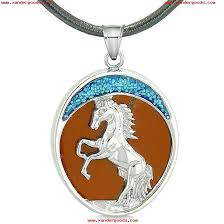 courage horse wild moon mustang magic protection powers amulet red jasper pendant leather necklace qi8cy5re