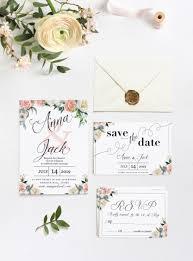 Floral White And Peach Wedding Invitation Set Pdf Wedding Invitation Set