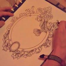 antique mirror frame tattoo. Plain Antique Hand Mirror Antique Drawing Tattoo Throughout Frame