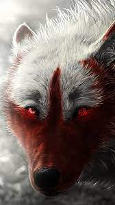 Wolf, glowing, red eyes, art picture ...