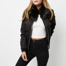 river island women topsm n96a1224 black faux fur collar er jacket river island clothing