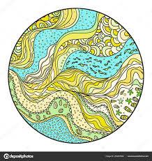 nautical circle background zentangle coloring book zen art design spiritual vetores de stock