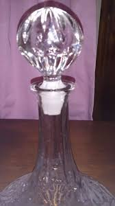 c1900 quality vintage lead crystal cut glass ships decanter vintage round heavy base 8 inch approx