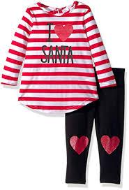 Youngland Girls Baby Santa Applique Dress And Solid Legging Set
