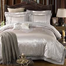 silver color luxury jacquard bedding set stain fabric bed set 4 king quee size bedsheet set duvet cover pillowcases daybed comforter sets quilt bedding