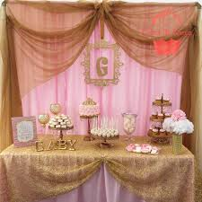 Dessert table at a pink and gold baby shower party! See more party planning  ideas