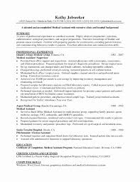 Sample Office Assistant Resume Fresh Personal Medical Assistant