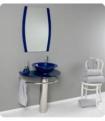 30 inch wall mounted single chrome metal pedestal bathroom vanity include blue vessel sink faucet