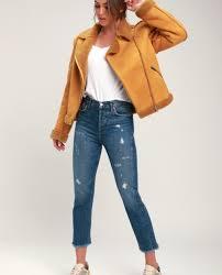 mustard yellow faux suede aviator jacket