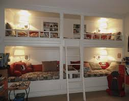 ... Room Design And Inspirations: Nice Looking White Wooden Painted Bunk  Built In Bed For 4 Added Stairs As Well As White Wall Lamp Shade Decorating  Designs