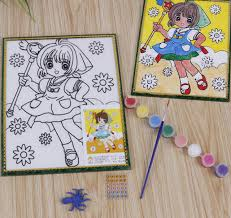 Sand Card Children Kids Drawing Toys Sand Painting Watercolour Anime Diy