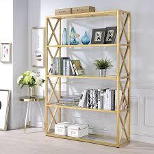 acme furniture milavera gold metal 4 shelf bookcase