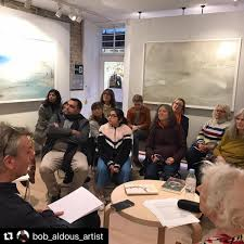"""One Paved Court on Twitter: """"Yesterday a full house enjoyed hearing Myra  Schneider reading her poems and discussing the similarities and differences  between composing poems and paintings with Bob Aldous. @bobaldous  #poetryandpainting #"""