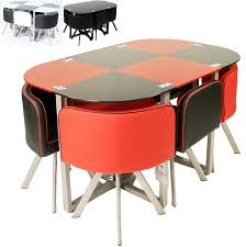round space saver black dining table and chair set design ideas