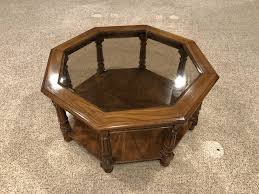 Mid century glass top octagon coffee table loveseat vintage furniture san diego & los angeles these pictures of this page are about:octagon coffee mid century modern marble top octagon coffee table. Mid Century Modern Walnut Octagonal Glass Top Coff Ksl Com
