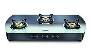 gas stove. Prestige Premia Glass 3 Burner Gas Stove (Black And White)