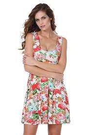 Meaneor Damen Mädchen Vintage Sommerkleid Floral Minikleid ...