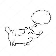 thought bubble cartoon small fat dog stock vector