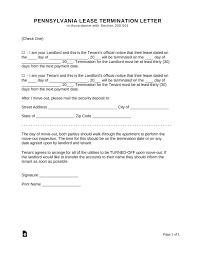Lease Termination Letters Free Pennsylvania Lease Termination Letter Form 30 Days Notice