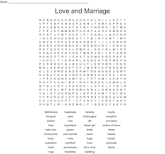 Wedding Bingo Words Love And Marriage Word Search Wordmint