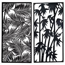 metal wall art steel pannel 59x118cm 3asst des leaves bamboo  on metal wall art cheap as chips with metal wall art steel pannel 59x118cm 3asst des leaves bamboo