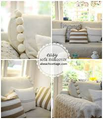 Leather Sofa Makeover No Sew Sofa Makeover How To Cover A Sofa With Fabric Drop Cloth