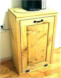 oak trash can holder wood trash bin for kitchen tilt out can wooden box cabinet garbage indoor holder oak white