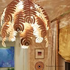 palm chandelier rose gold leaf
