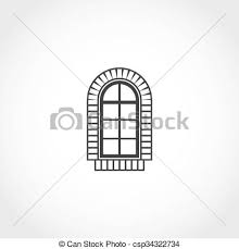 vintage window drawing. vector - vintage window icon drawing d
