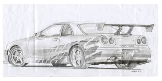 nissan skyline fast and furious drawing. Fast And Furious Cars Drawings Google Search Simple Art Pencil In Nissan Skyline Drawing