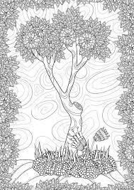 ベクトル パターン木と花を風景します大人のぬりえ本a4 フォーマット