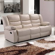 Stylish Sofas Ivory Cream Recliner Sofa Collection In Bonded Leather