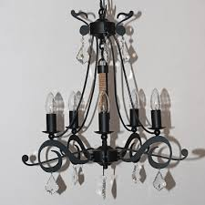 retro wrought iron crystal accented black chandelier retro wrought iron crystal accented black chandelier