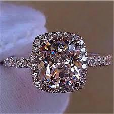 <b>Luxury Female Girl</b> Big Crystal <b>CZ Stone</b> Ring 925 Silver White Blue ...