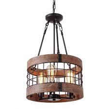 round wooden chandelier metal pendant three lights decorative lighting fixture retro rustic antique ceiling lamp three