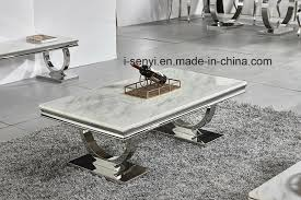 china living room furniture alternative white marble black tempered glass top stainless steel coffee table china home furniture hotel furniture