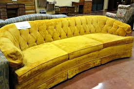 vintage 70s furniture. Old And Vintage Yellow Velvet Tufted Sofa With 3 Cushions For Rustic Living Room Furniture Ideas 70s